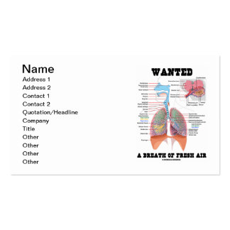 Wanted A Breath Of Fresh Air (Respiratory System) Pack Of Standard Business Cards