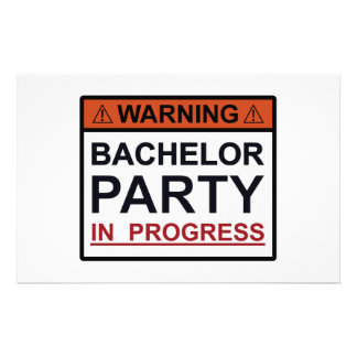 Warning Bachelor Party in Progress Personalized Stationery