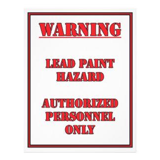 Warning Lead Paint Hazard Sign 21.5 Cm X 28 Cm Flyer