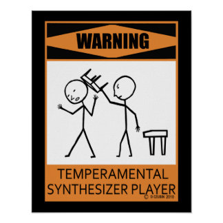Warning Temperamental Synthesizer Player Poster