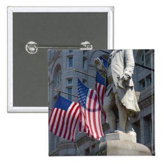 Washington, DC, statue of Benjamin Franklin 15 Cm Square Badge