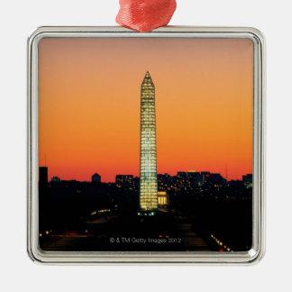 Washington Monument Under Restoration at Sunset Silver-Colored Square Decoration
