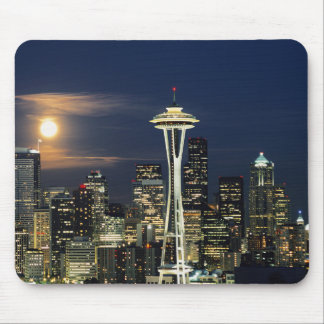 Washington, Seattle, Skyline at night from Kerry 1 Mouse Pad