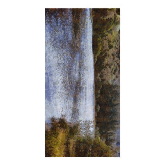 Water body surrounded by greenery photo greeting card