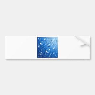 Water drops on blue bumper sticker