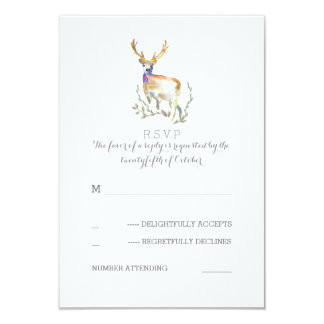 Watercolor Deer Antlers Wedding RSVP Cards 9 Cm X 13 Cm Invitation Card