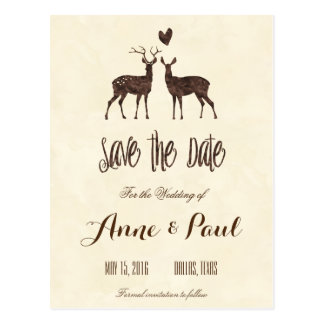 Watercolor Deers Save the Date Postcard