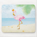 Watercolor Flamingo with Royal Crown Mouse Pad