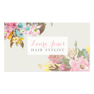 Watercolor Floral Hair Stylist Appointment Cards Pack Of Standard Business Cards