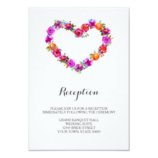 Watercolor Floral Heart Shaped Reception Info Card 9 Cm X 13 Cm Invitation Card