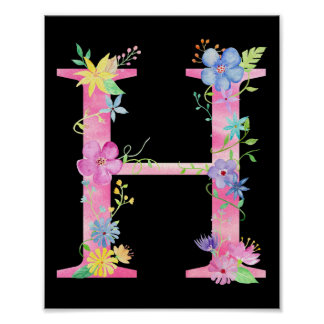 Watercolor Floral Letter H Poster