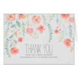 Watercolor Flowers Wedding Thank You Note Card