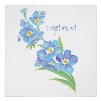 Watercolor Forget-me-not flower Pretty blue floral