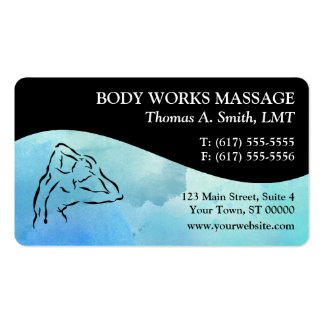 Watercolor Massage Therapy Business Cards