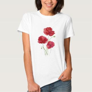 Watercolor Red Poppy Garden Flower Floral art Shirts