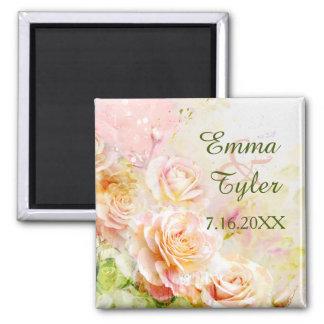 Watercolor Rose Floral Wedding Magnet