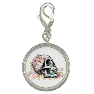 Watercolor skull with autumn flowers