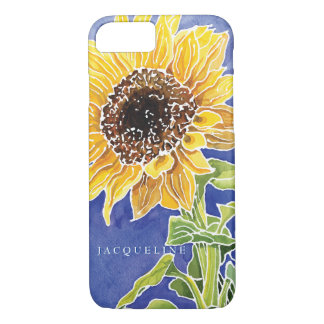 Watercolor Sunflower Batik Summer Personalize Name iPhone 7 Case