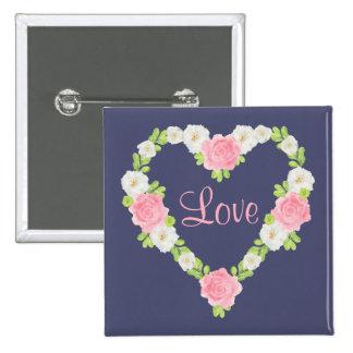 Watercolor Valentine Heart Floral Wreath 15 Cm Square Badge