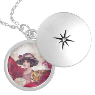 Watercolor Vintage Tiger Woman Flowers Round Locket Necklace