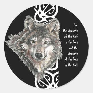 Watercolor Wild Gray, Grey Wolf Head Family Quote Round Sticker