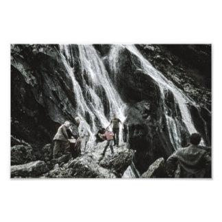 Waterfall Nature, Rock Climbing Outdoor People Photo Print
