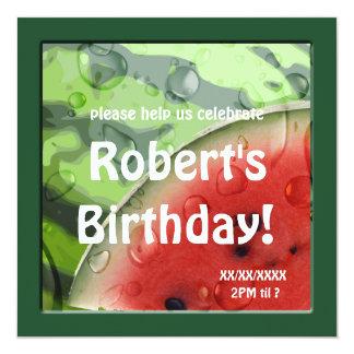 Watermelon Summer Birthday Picnic Custom 13 Cm X 13 Cm Square Invitation Card