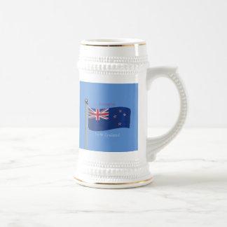 Waving Flag of New Zealand Beer Steins