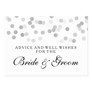 Wedding Advice Card Silver Foil Glitter Lights Pack Of Chubby Business Cards