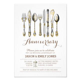 Wedding anniversary celebration dinner 13 cm x 18 cm invitation card