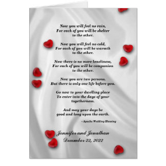 Wedding, Apache Blessing Now You Will Feel No Rain Greeting Card