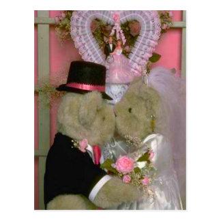 Wedding bears couple getting married first kiss postcard