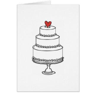 Wedding Cake Sketch - Plain Greeting Card