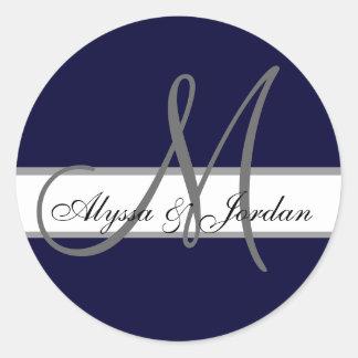 Wedding Custom Monogram & Names Navy & Grey Seal Round Sticker
