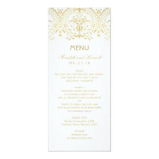 Wedding Dinner Menu Cards | Gold Vintage Glam 10 Cm X 24 Cm Invitation Card