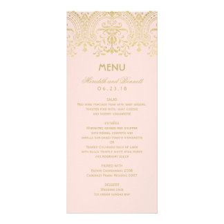 Wedding Dinner Menu Cards | Gold Vintage Glam Full Colour Rack Card