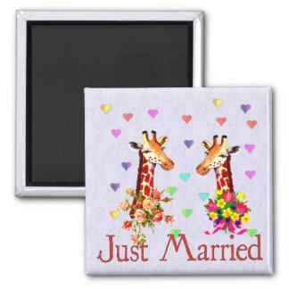 Wedding Giraffes Square Magnet