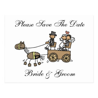 Wedding Horse And Carriage Save The Date Postcard