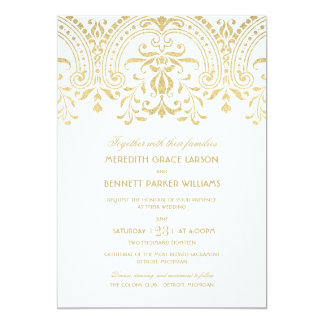 Wedding Invitations | Gold Vintage Glamour