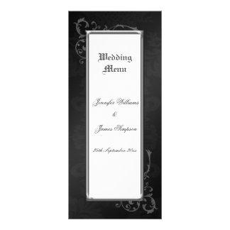 Wedding Menu Template Ornate Gothic Damask 10 Cm X 23 Cm Rack Card