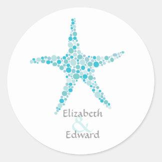 Wedding Monogram Turquoise Aqua Starfish Sticker