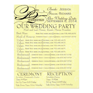 Wedding Party Contact Info Form 21.5 Cm X 28 Cm Flyer