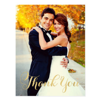 Wedding Photo Note Cards | Gold Script Postcard
