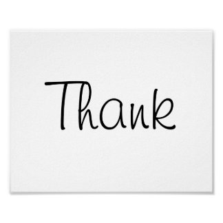 """Wedding photo prop sign """"Thank"""" of """"Thank You"""" Poster"""