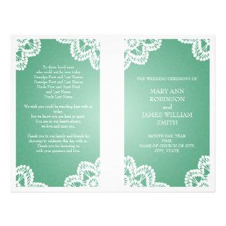 Wedding Program  Vintage Lace Mint Green 21.5 Cm X 28 Cm Flyer