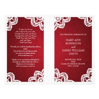 Wedding Program  Vintage Lace Red 21.5 Cm X 28 Cm Flyer