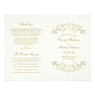 Wedding Programs   Antique Gold Flourish 21.5 Cm X 28 Cm Flyer