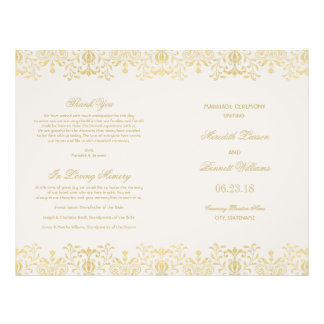 Wedding Programs   Gold Vintage Glamour 21.5 Cm X 28 Cm Flyer