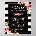 Wedding Reception Sign Gold Vintage Floral Stripes Poster