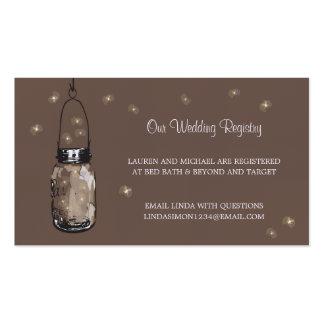 Wedding Registry Card Mason Jar & Fireflies Pack Of Standard Business Cards